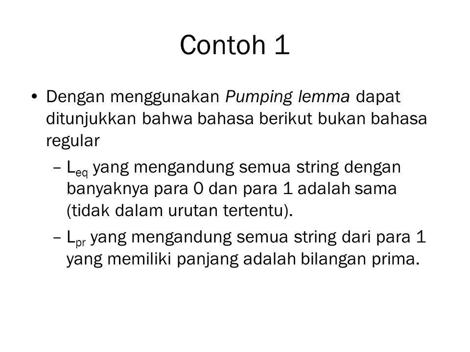 Contoh 1 Dengan menggunakan Pumping lemma dapat ditunjukkan bahwa bahasa berikut bukan bahasa regular.