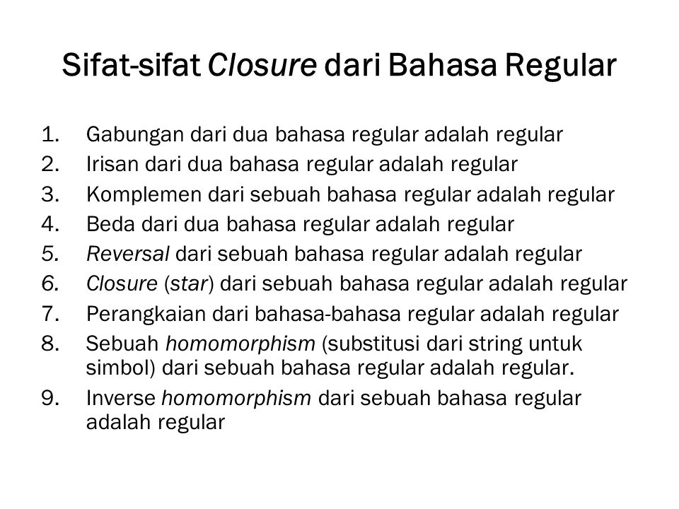 Sifat-sifat Closure dari Bahasa Regular