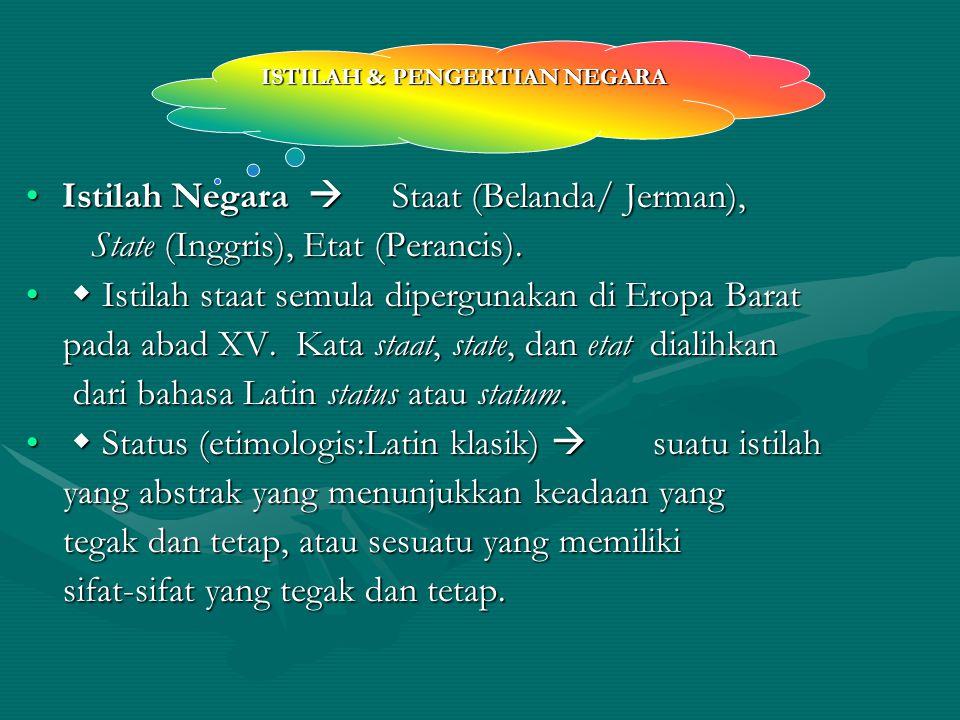 ISTILAH & PENGERTIAN NEGARA