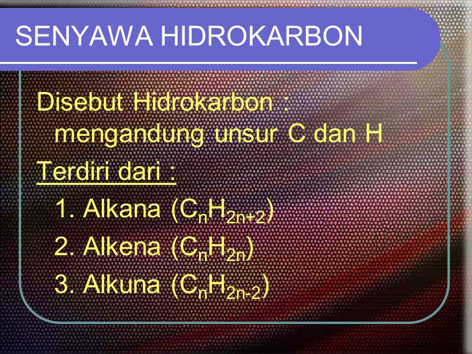 SENYAWA HIDROKARBON Disebut Hidrokarbon : mengandung unsur C dan H