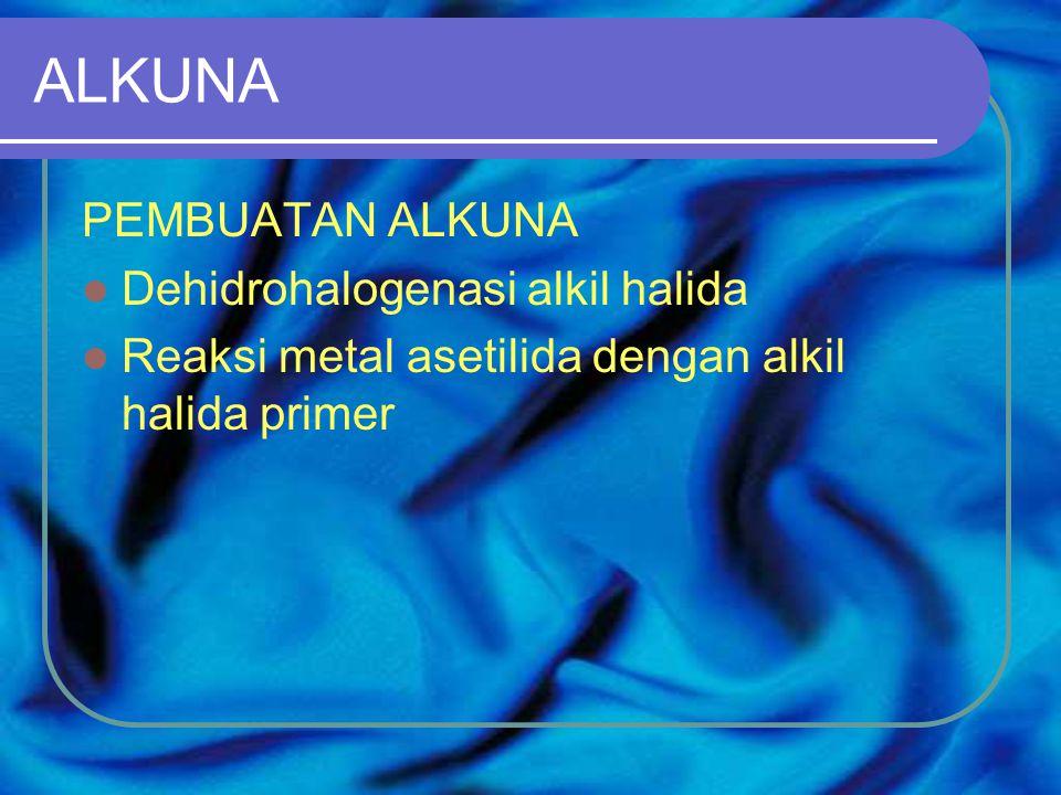 ALKUNA PEMBUATAN ALKUNA Dehidrohalogenasi alkil halida