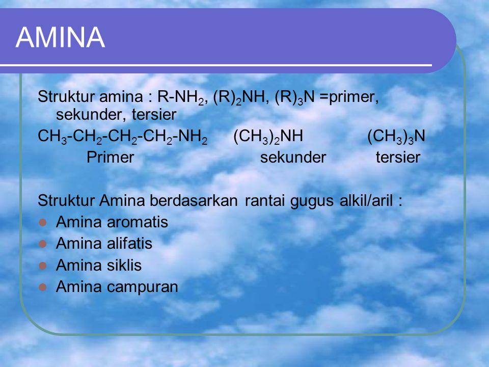 AMINA Struktur amina : R-NH2, (R)2NH, (R)3N =primer, sekunder, tersier