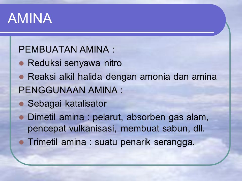 AMINA PEMBUATAN AMINA : Reduksi senyawa nitro
