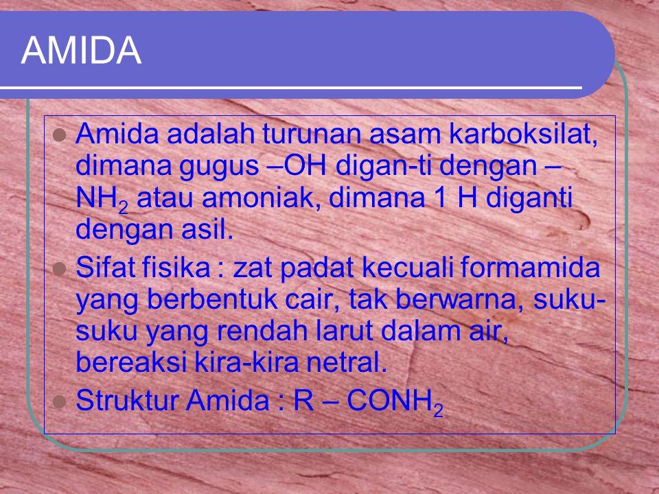 AMIDA Amida adalah turunan asam karboksilat, dimana gugus –OH digan-ti dengan –NH2 atau amoniak, dimana 1 H diganti dengan asil.