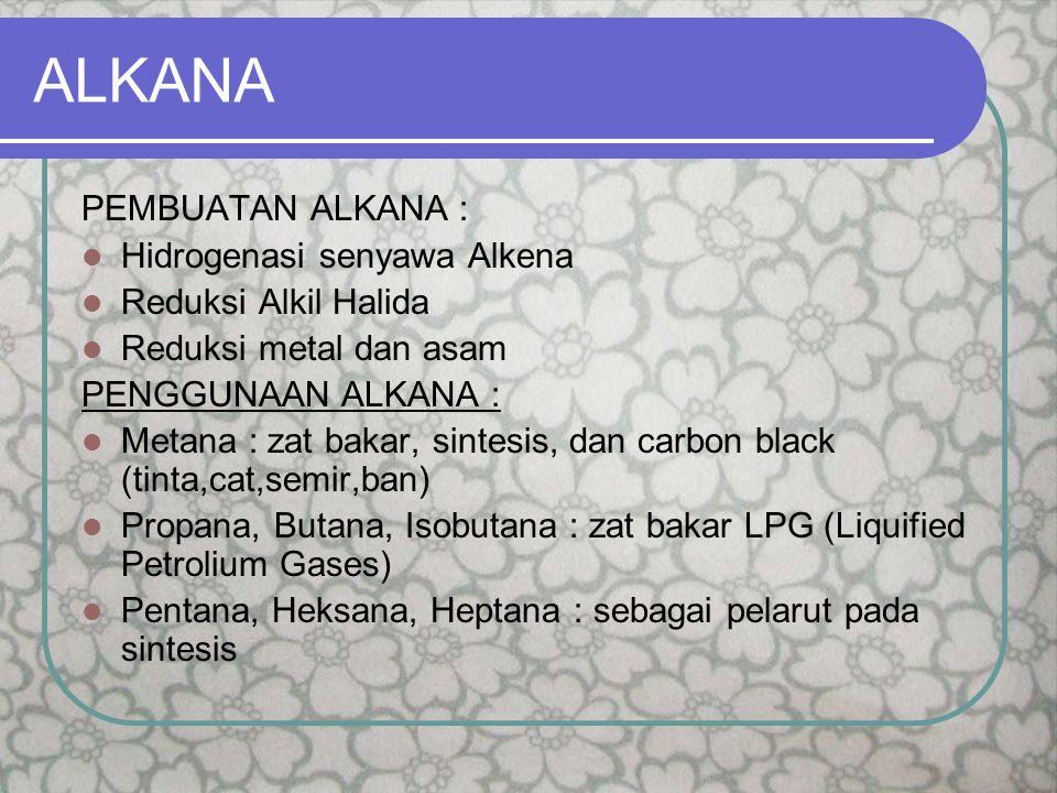 ALKANA PEMBUATAN ALKANA : Hidrogenasi senyawa Alkena