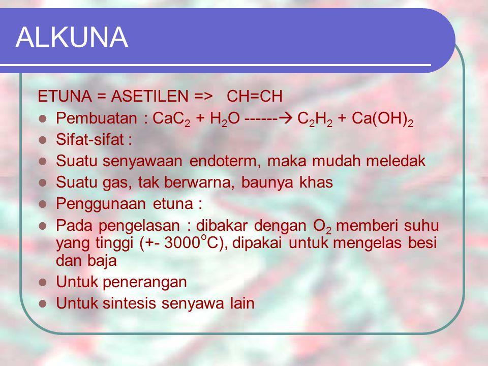 ALKUNA ETUNA = ASETILEN => CH=CH