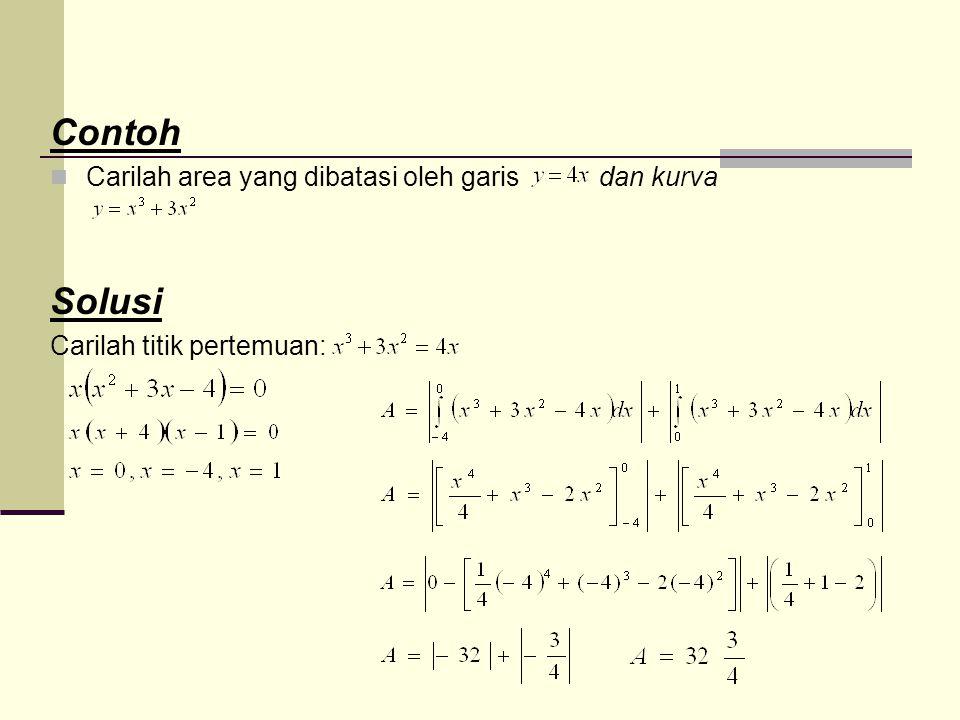 Contoh Solusi Carilah area yang dibatasi oleh garis dan kurva