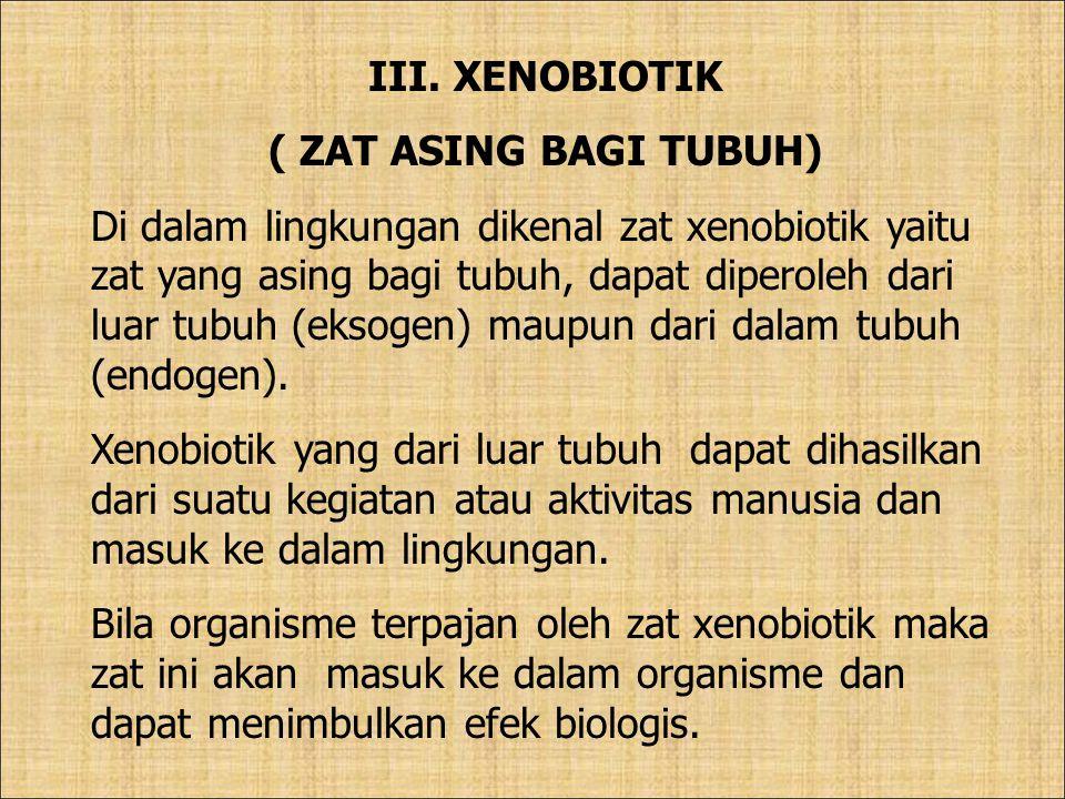 III. XENOBIOTIK ( ZAT ASING BAGI TUBUH)