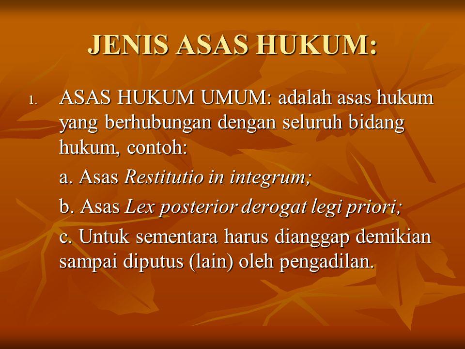 JENIS ASAS HUKUM: ASAS HUKUM UMUM: adalah asas hukum yang berhubungan dengan seluruh bidang hukum, contoh: