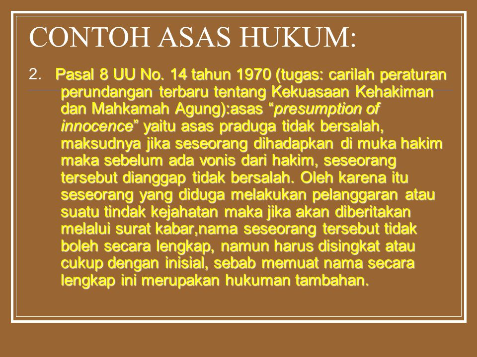 CONTOH ASAS HUKUM: