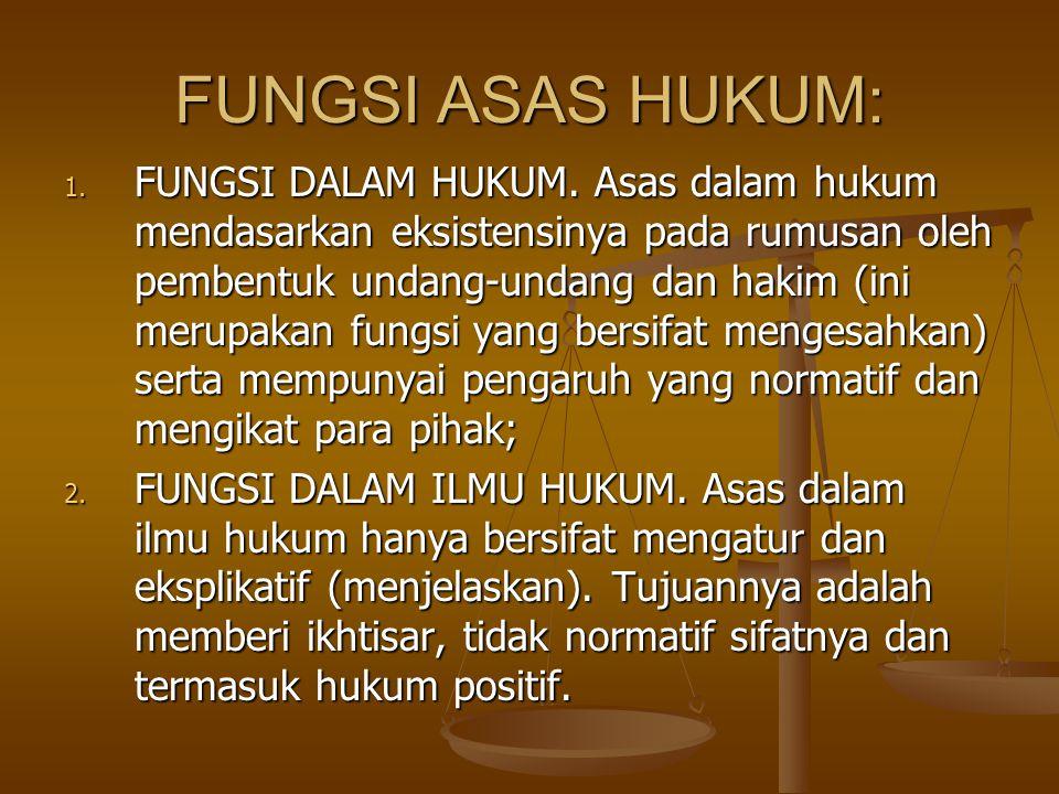 FUNGSI ASAS HUKUM: