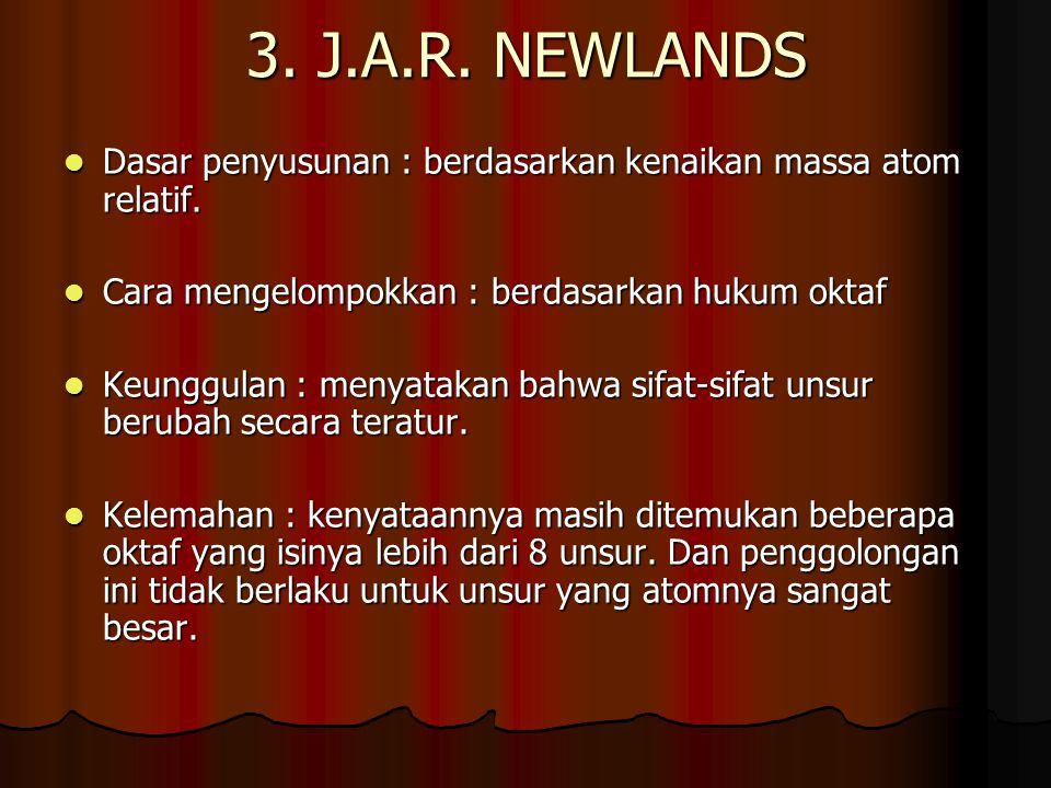 3. J.A.R. NEWLANDS Dasar penyusunan : berdasarkan kenaikan massa atom relatif. Cara mengelompokkan : berdasarkan hukum oktaf.