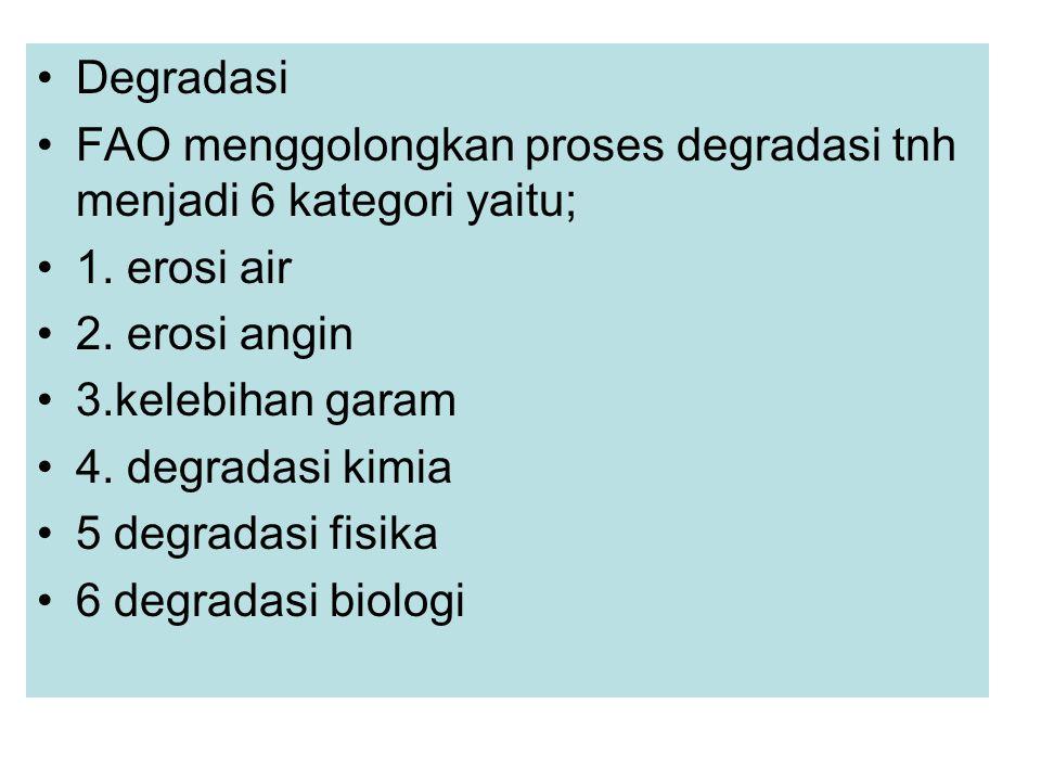 Degradasi FAO menggolongkan proses degradasi tnh menjadi 6 kategori yaitu; 1. erosi air. 2. erosi angin.