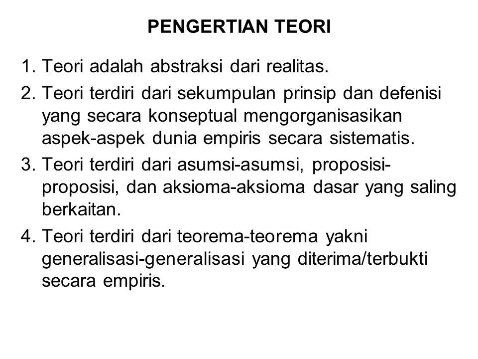 PENGERTIAN TEORI Teori adalah abstraksi dari realitas.