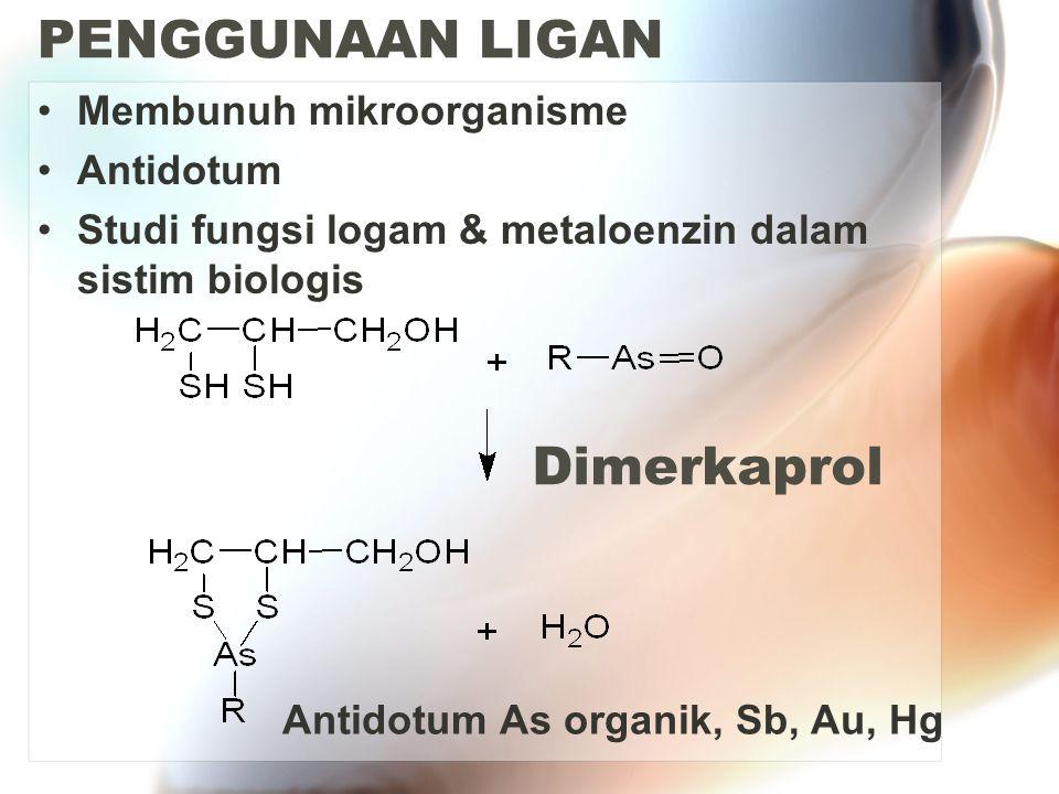PENGGUNAAN LIGAN Dimerkaprol Membunuh mikroorganisme Antidotum