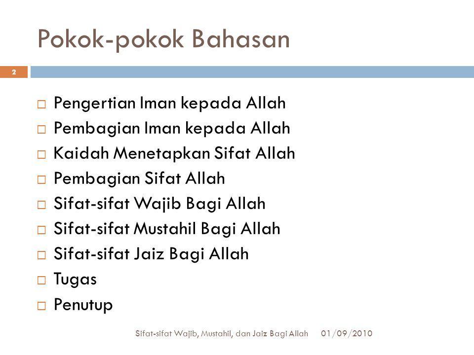 Pokok-pokok Bahasan Pengertian Iman kepada Allah