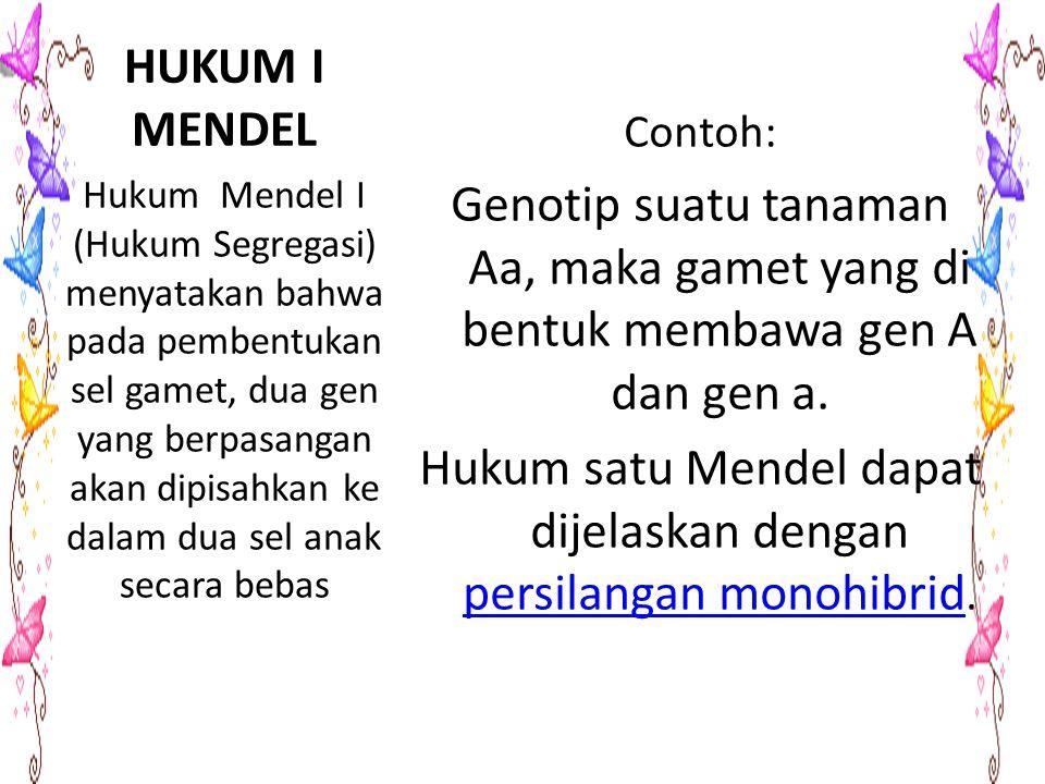 Hukum satu Mendel dapat dijelaskan dengan persilangan monohibrid.