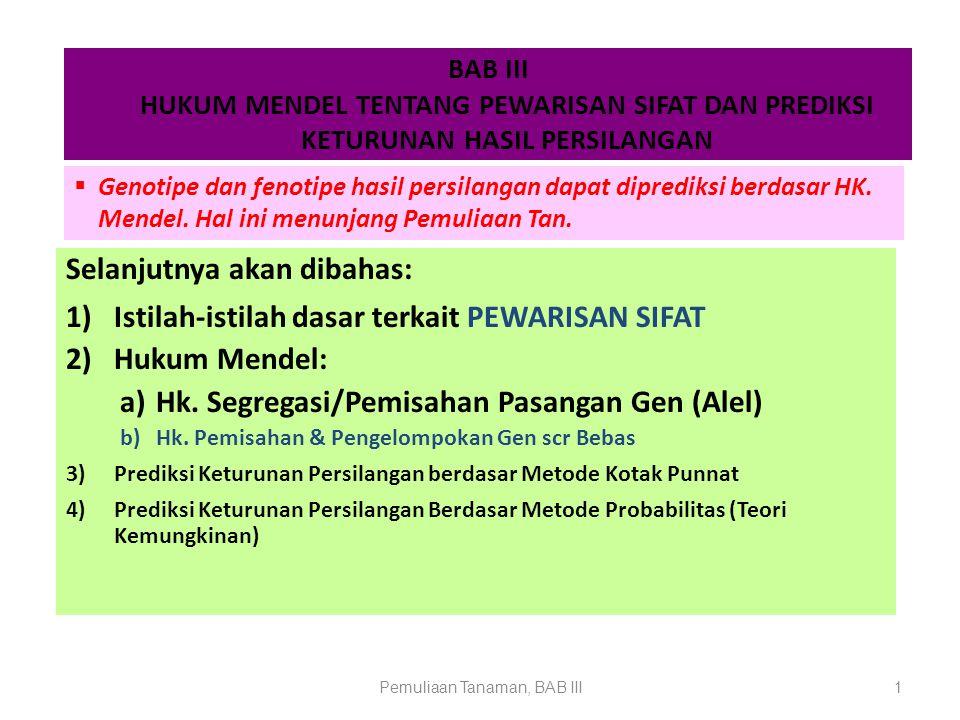 Pemuliaan Tanaman, BAB III