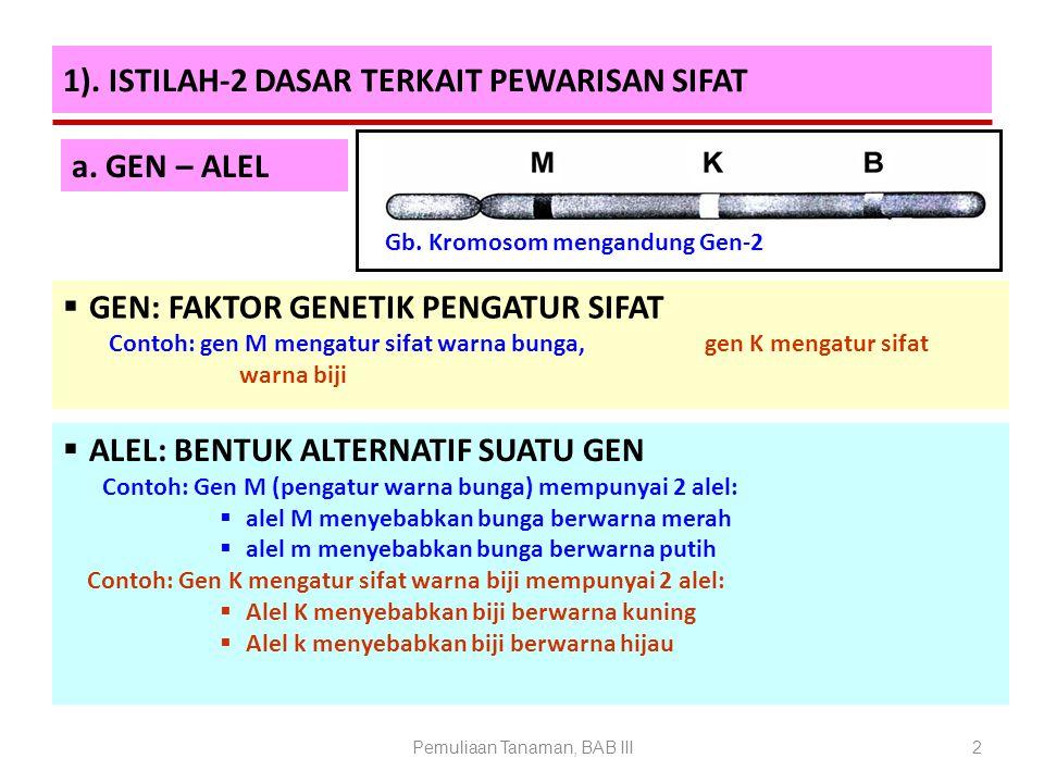 1). ISTILAH-2 DASAR TERKAIT PEWARISAN SIFAT