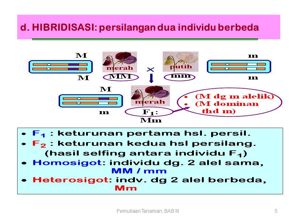 d. HIBRIDISASI: persilangan dua individu berbeda