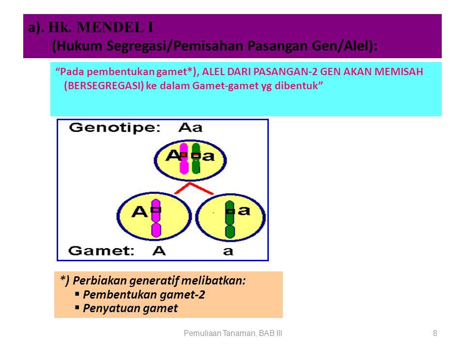 a). Hk. MENDEL I (Hukum Segregasi/Pemisahan Pasangan Gen/Alel):