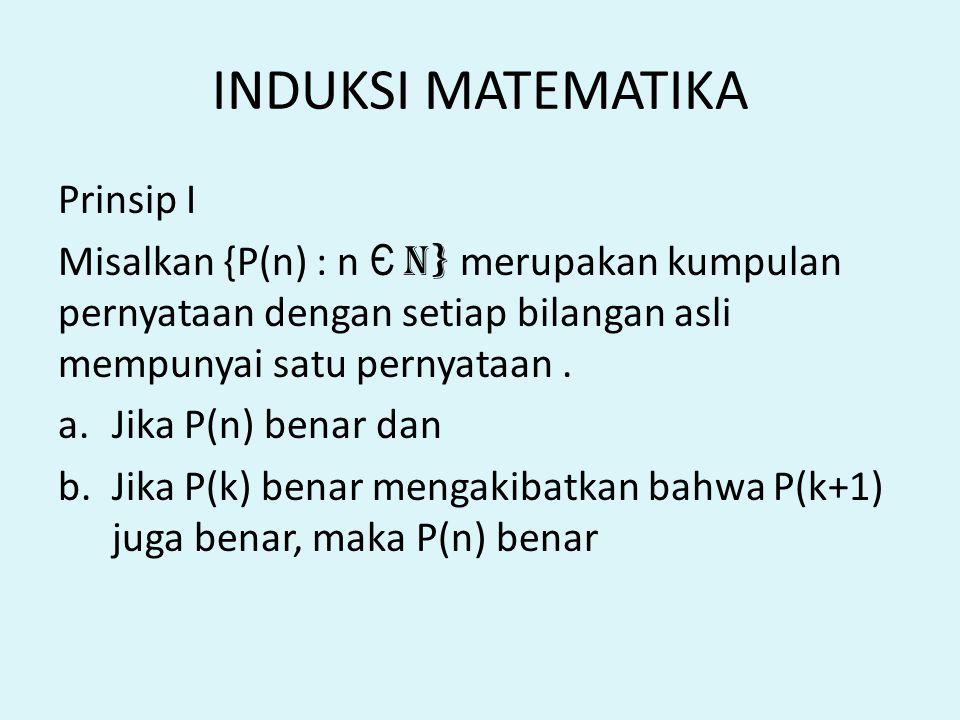 INDUKSI MATEMATIKA Prinsip I