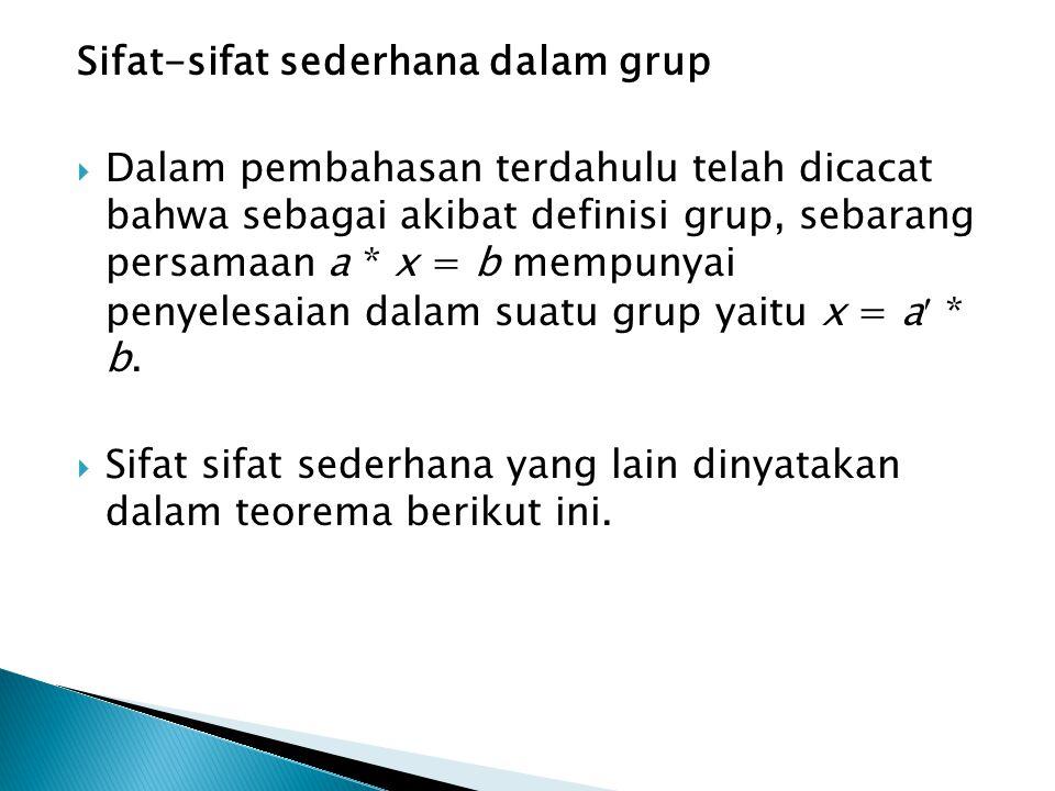 Sifat-sifat sederhana dalam grup