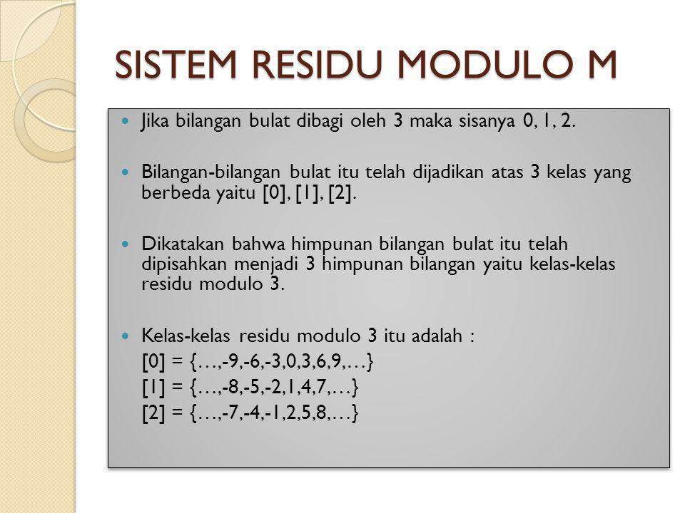 SISTEM RESIDU MODULO M Jika bilangan bulat dibagi oleh 3 maka sisanya 0, 1, 2.