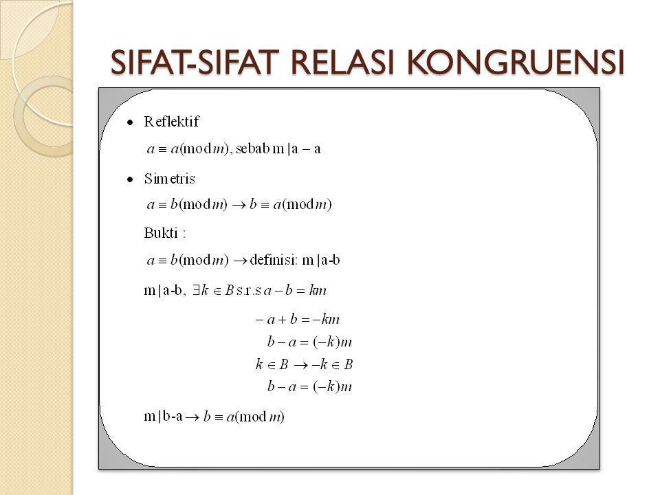 SIFAT-SIFAT RELASI KONGRUENSI