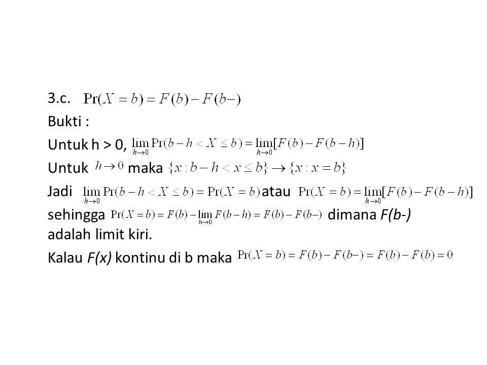 3.c. Bukti : Untuk h > 0, Untuk maka Jadi atau sehingga dimana F(b-) adalah limit kiri.