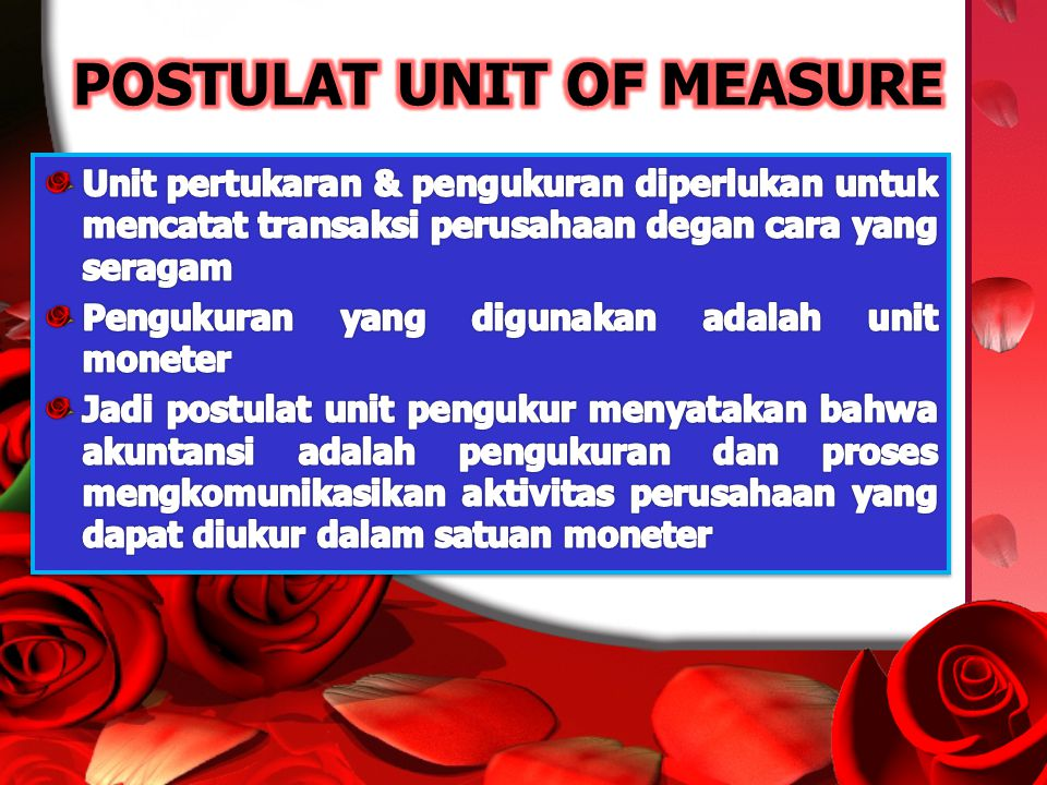 POSTULAT UNIT OF MEASURE