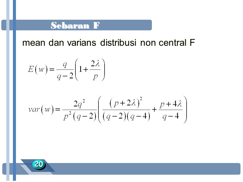 mean dan varians distribusi non central F