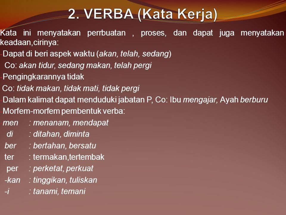 2. VERBA (Kata Kerja) Kata ini menyatakan perrbuatan , proses, dan dapat juga menyatakan keadaan,cirinya: