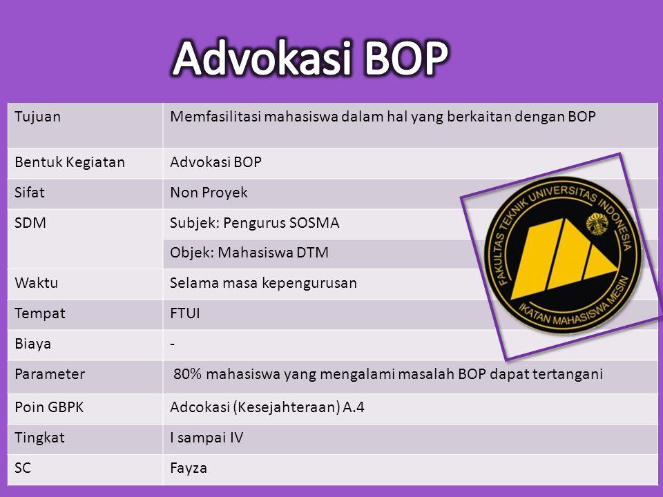 Tujuan Memfasilitasi mahasiswa dalam hal yang berkaitan dengan BOP. Bentuk Kegiatan. Advokasi BOP.