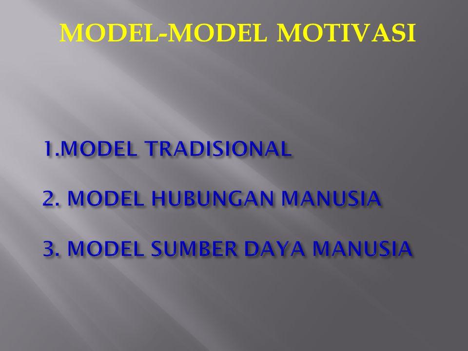 MODEL-MODEL MOTIVASI 1.MODEL TRADISIONAL 2. MODEL HUBUNGAN MANUSIA 3. MODEL SUMBER DAYA MANUSIA