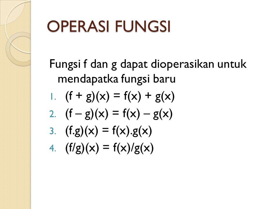 OPERASI FUNGSI Fungsi f dan g dapat dioperasikan untuk mendapatka fungsi baru. (f + g)(x) = f(x) + g(x)