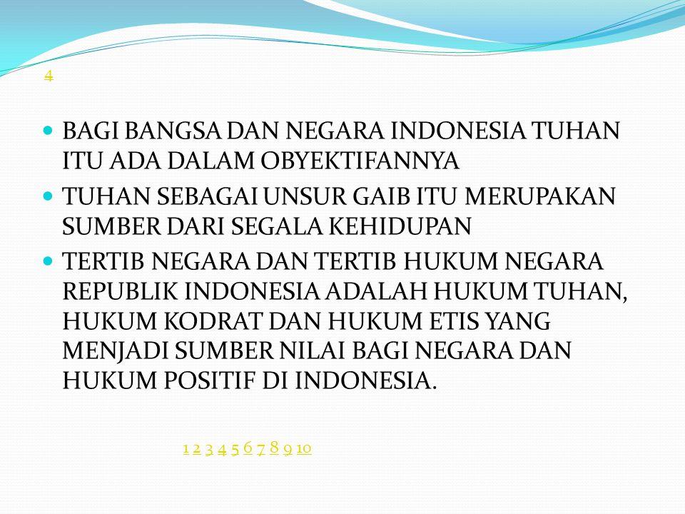 BAGI BANGSA DAN NEGARA INDONESIA TUHAN ITU ADA DALAM OBYEKTIFANNYA