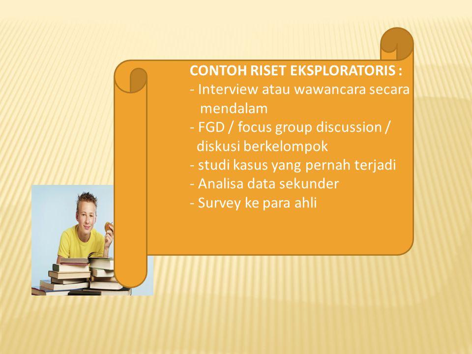CONTOH RISET EKSPLORATORIS : - Interview atau wawancara secara