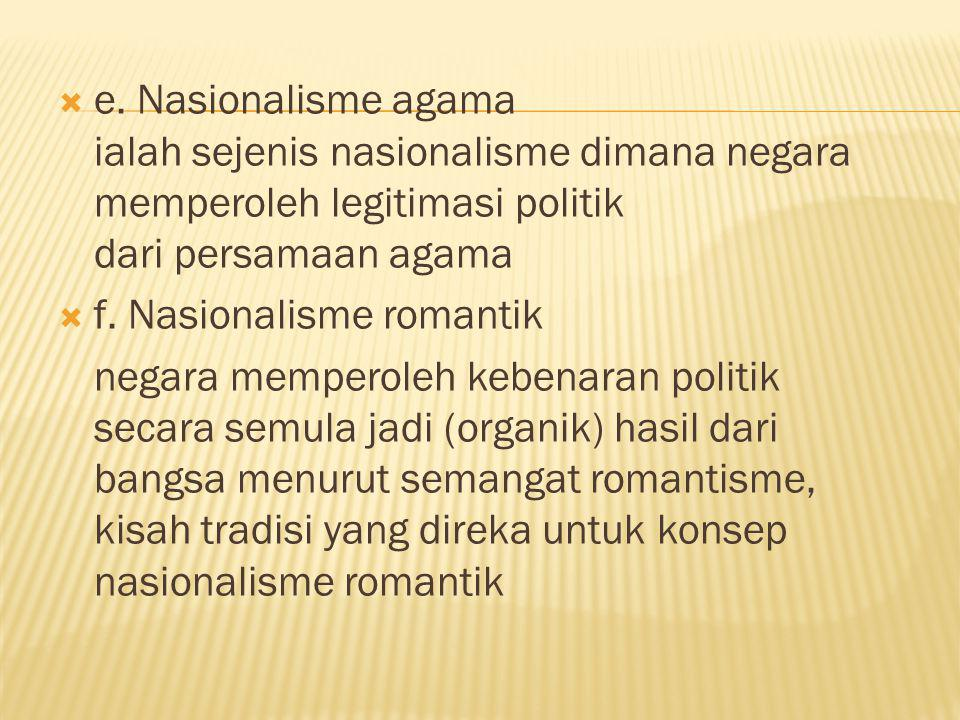 e. Nasionalisme agama ialah sejenis nasionalisme dimana negara memperoleh legitimasi politik dari persamaan agama