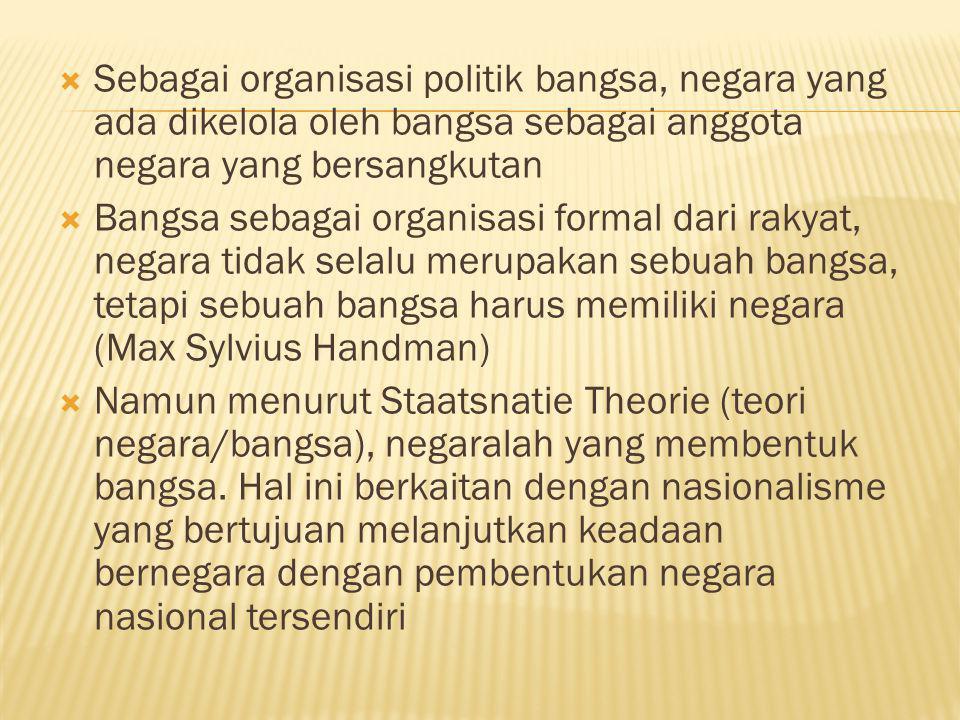 Sebagai organisasi politik bangsa, negara yang ada dikelola oleh bangsa sebagai anggota negara yang bersangkutan