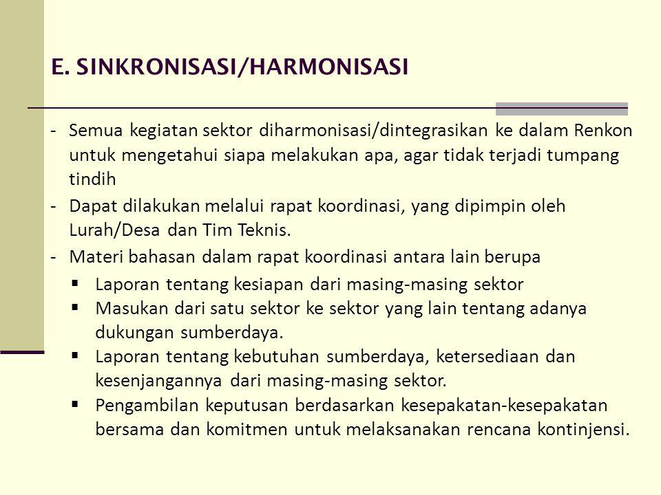 E. SINKRONISASI/HARMONISASI