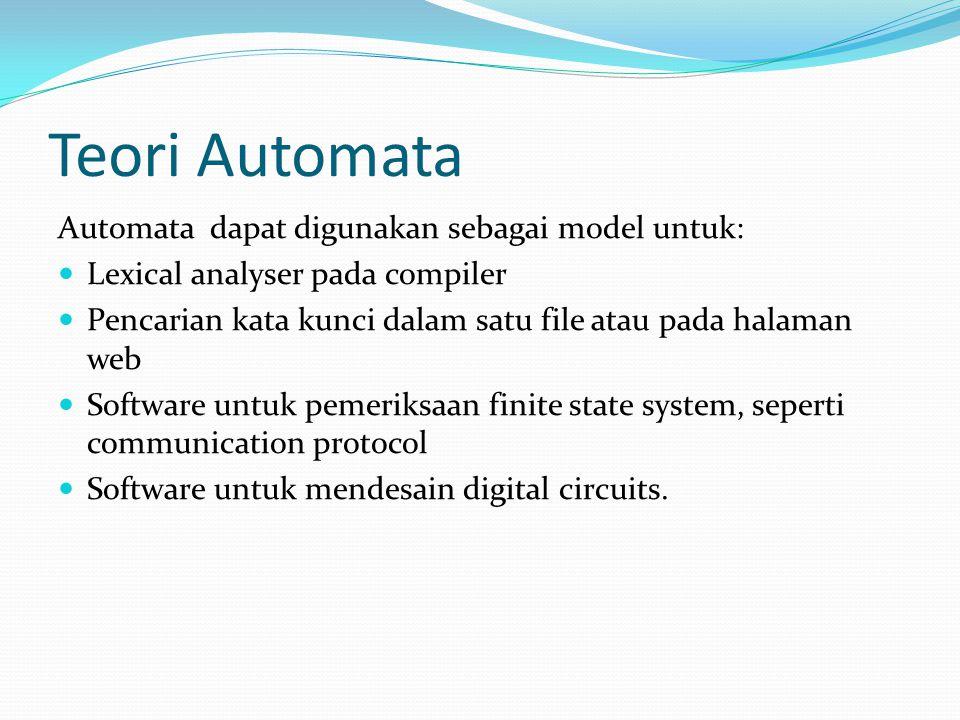 Teori Automata Automata dapat digunakan sebagai model untuk: