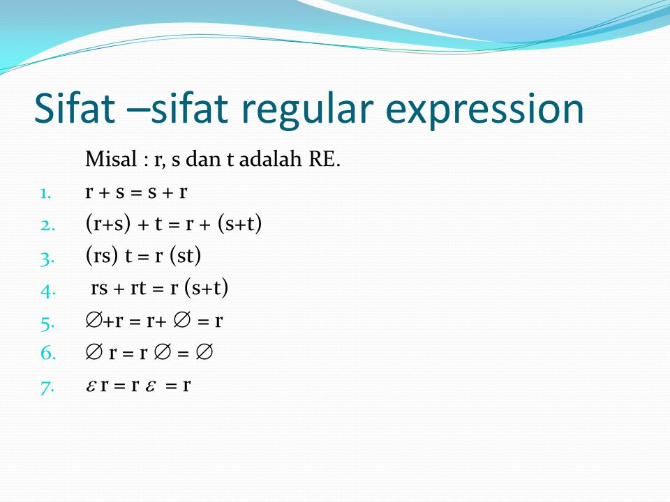 Sifat –sifat regular expression