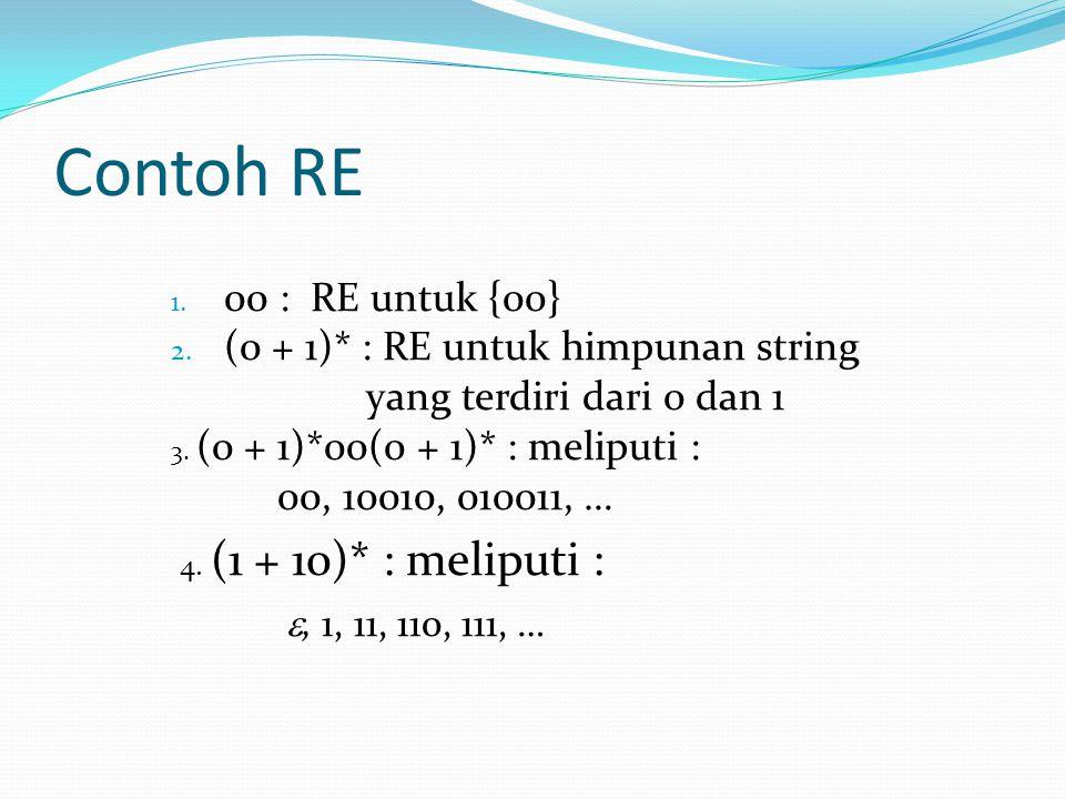 Contoh RE 00 : RE untuk {00} (0 + 1)* : RE untuk himpunan string