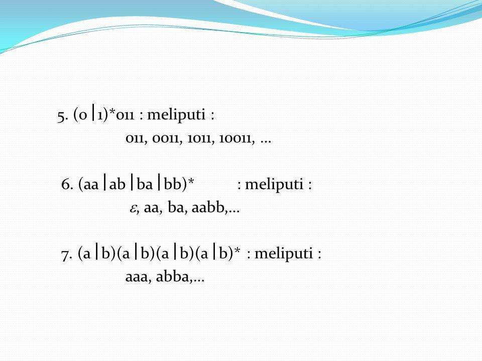 5. (01)*011 : meliputi : 011, 0011, 1011, 10011, … 6. (aaabbabb)* : meliputi : , aa, ba, aabb,…