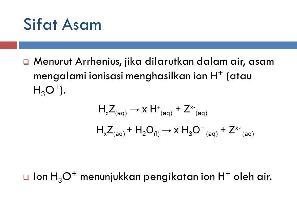 Sifat Asam Menurut Arrhenius, jika dilarutkan dalam air, asam mengalami ionisasi menghasilkan ion H+ (atau H3O+).