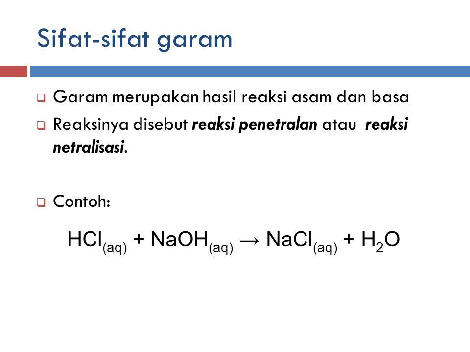 Sifat-sifat garam HCl(aq) + NaOH(aq) → NaCl(aq) + H2O