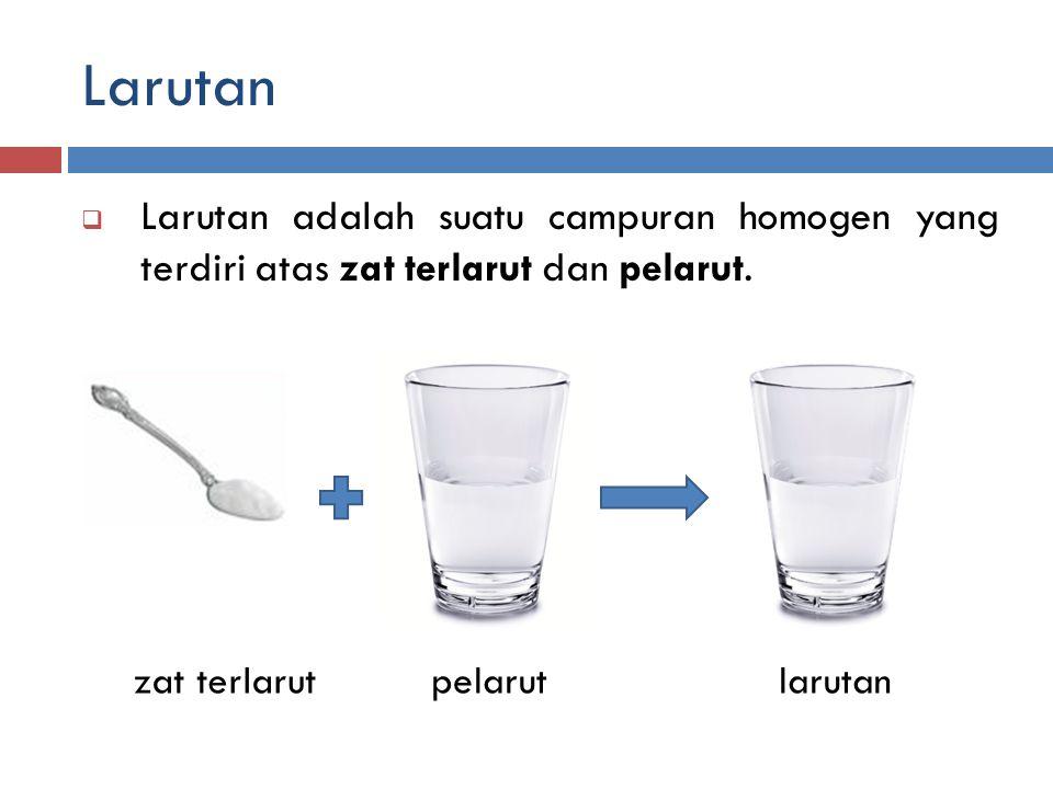 Larutan Larutan adalah suatu campuran homogen yang terdiri atas zat terlarut dan pelarut. zat terlarut.
