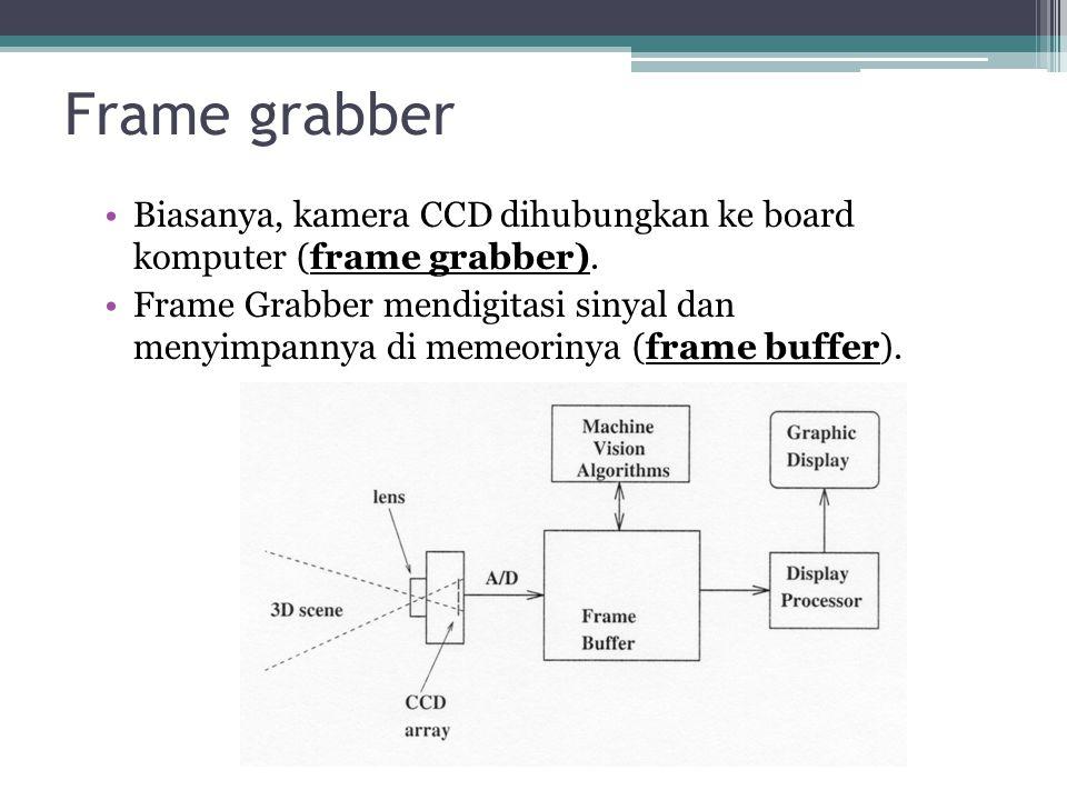 Frame grabber Biasanya, kamera CCD dihubungkan ke board komputer (frame grabber).