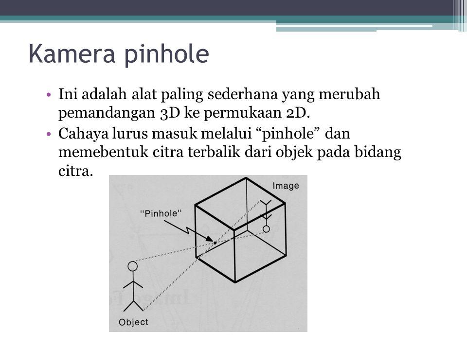 Kamera pinhole Ini adalah alat paling sederhana yang merubah pemandangan 3D ke permukaan 2D.